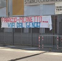 Genoa, la contestazione a Preziosi jr e a Milanetto si allarga alla città