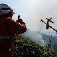 Genova, le manovre dei Canadair per domare l'incendio al Fasce