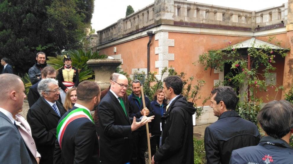 Il principe Alberto di Monaco a Ventimiglia per l'anniversario dei giardini Hanbury