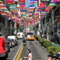 Ombrelli in centro e fiori a Nervi, Genova a colori
