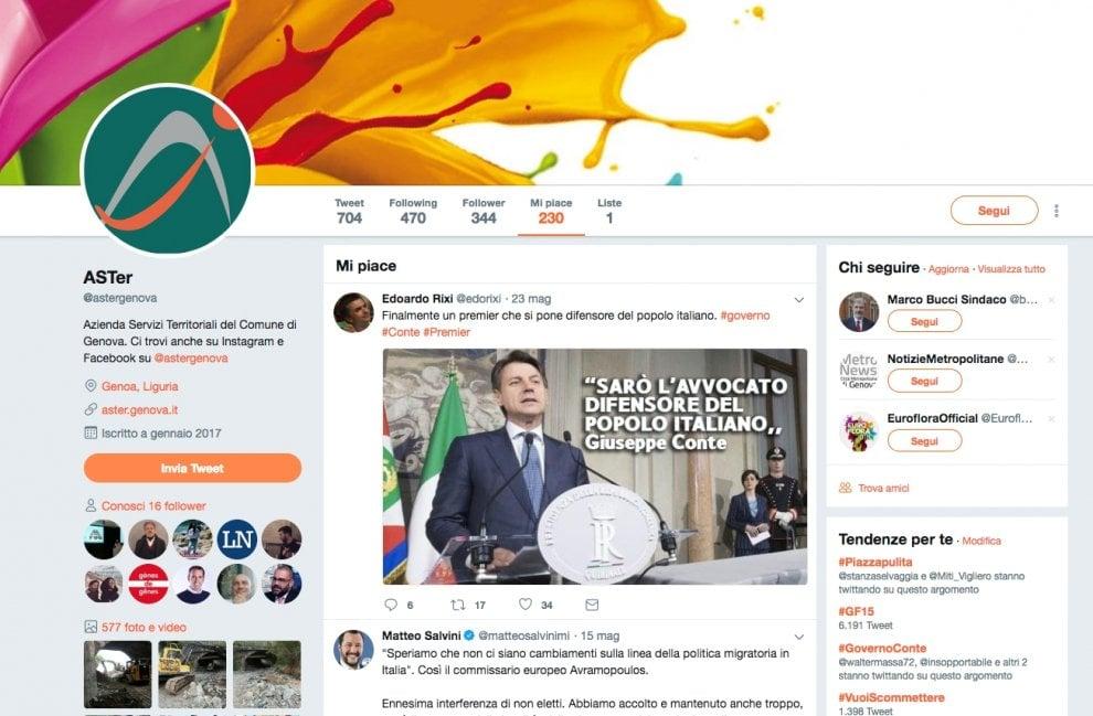 """I """"like"""" di Aster, partecipata del Comune, ai tweet di Rixi, Salvini e a Ballando con le stelle..."""