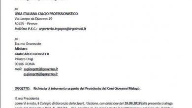 Caso Entella Gozzi scrive a Malagò: