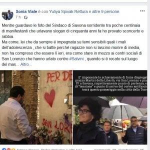"""La sindaca di Savona al corteo antifascista, la leghista Viale: """"E' come essere contro le ragazze stuprate"""""""