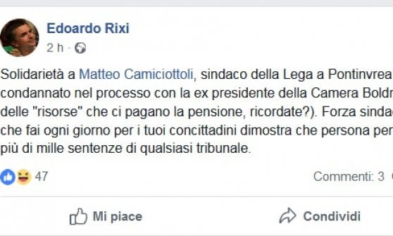 Augurò stupro a Laura Boldrini, sindaco condannato: multa da ventimila euro