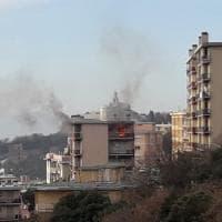Appartamento in fiamme a San Fruttuoso