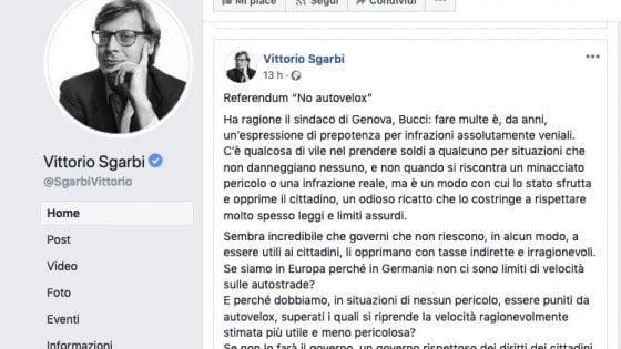 """Battaglia contro i vigili, Sgarbi con il sindaco di Genova: """"Vile fare le multe"""""""