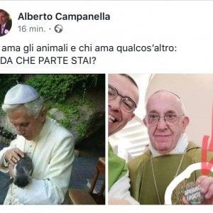 """Genova, il consigliere di FdI: """"Meglio un papa che ama gli animali dell'altro che ama i migranti"""""""
