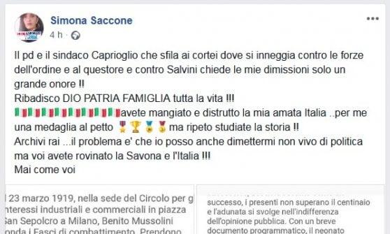 """Savona, la consigliera inneggia ai Fasci, la sindaca: """"Gravità inaudita, è un reato"""""""