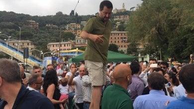 """Salvini a Recco: """"Ponte Morandi, se l'amianto è sotto soglia, non c'è problema"""""""