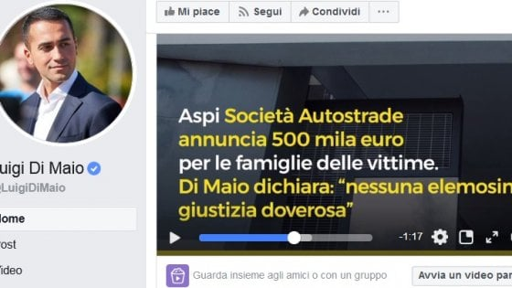 Un video (con fake) su Facebook sul Morandi, è scontro fra Di Maio e Autostrade