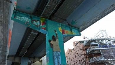 """""""Restiamo umani"""" il pilone della Sopraelevata ispirato  al festival hip hop    di FABIO BUSSALINO"""
