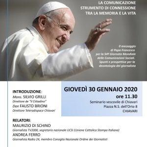 La comunicazione e il messaggio di papa Francesco, incontro a Chiavari