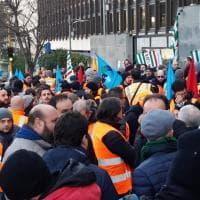 Autostrade, la protesta dei dipendenti Spea a Roma