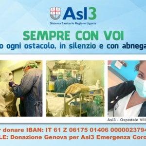 """Coronavirus, """"Sempre con voi"""" l'Asl3 genovese lancia una raccolta fondi"""