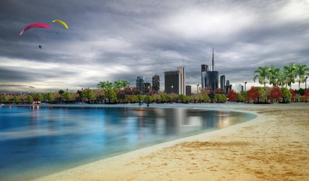 Se Milano avesse il mare, il fotomontaggio è d'artista