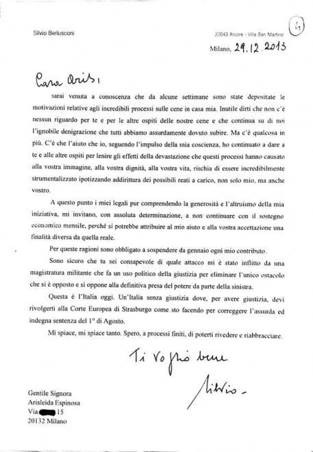"""La lettera di Berlusconi alle olgettine: """"Ora basta soldi"""""""