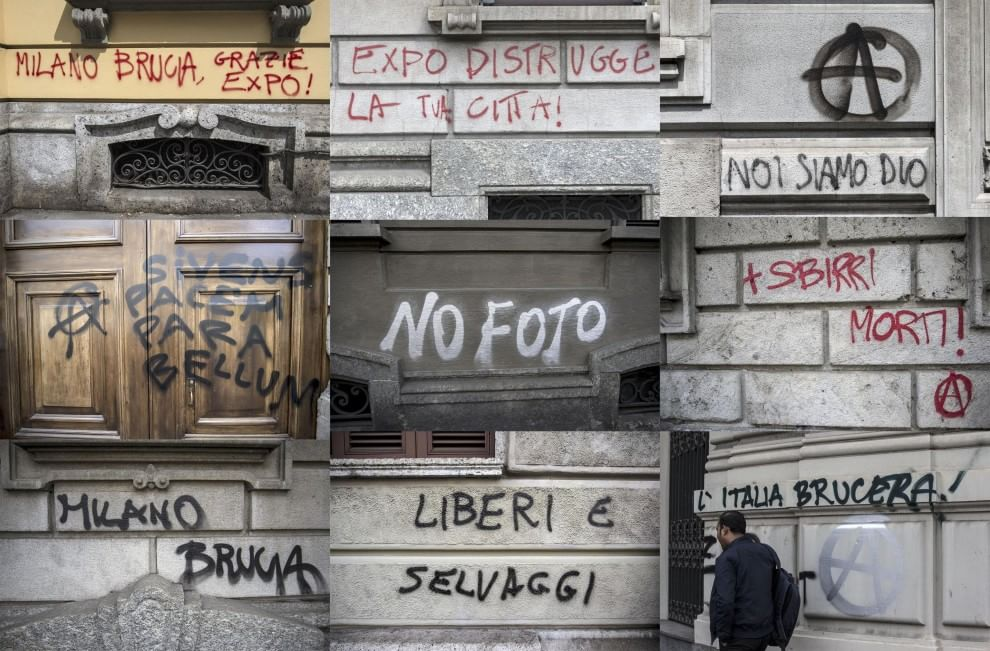 No Expo, le scritte dei Black Bloc