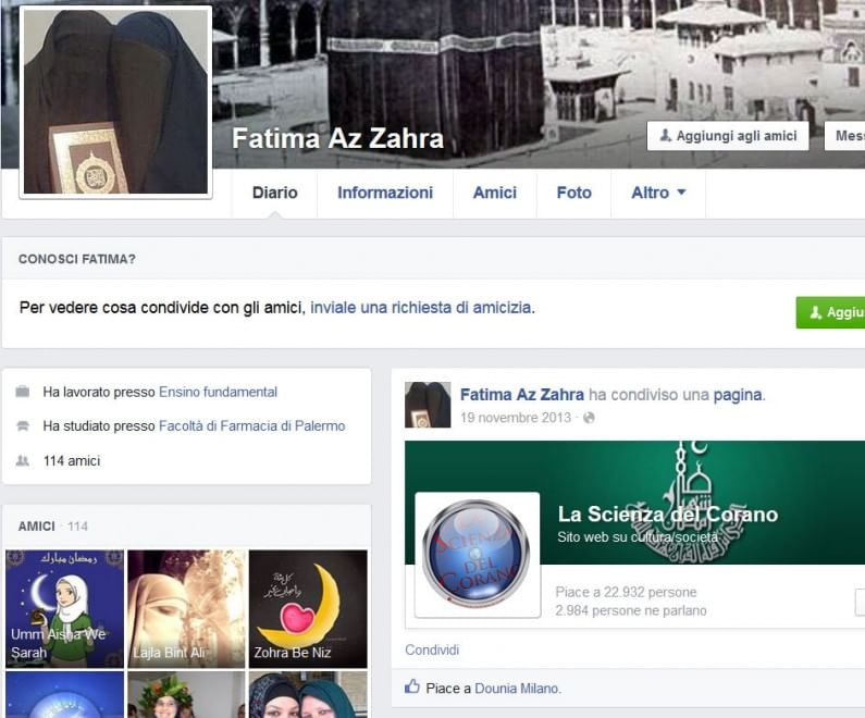 """Terrorismo, Fatima su Fb: """"Allah dacci la vittoria sui miscredenti"""""""