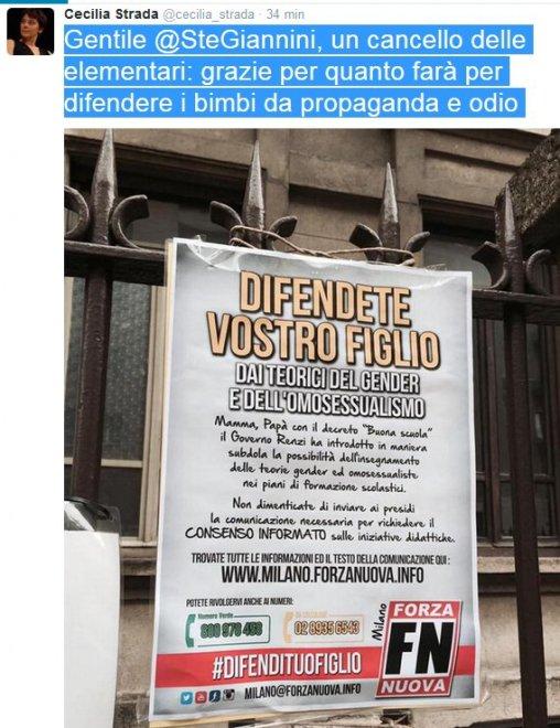 """Manifesti anti gender a scuola a Milano, Cecilia Strada su Fb: """"Ministro difendi i bimbi"""""""