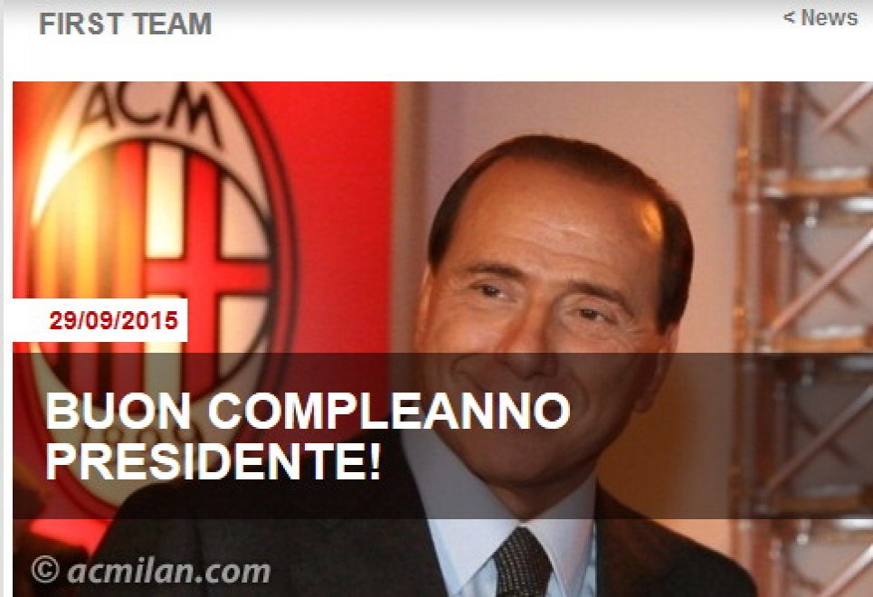 Milano, Berlusconi compie 79 anni: gli auguri rossoneri