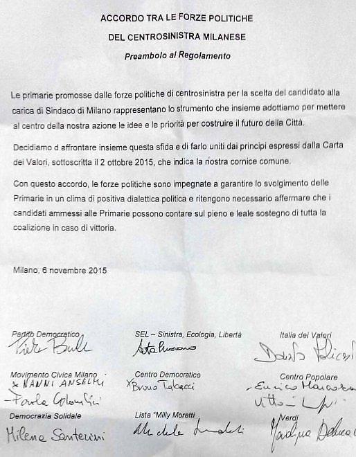 """""""Lodo Sala"""" per il centrosinistra milanese: firmato il patto di lealtà"""