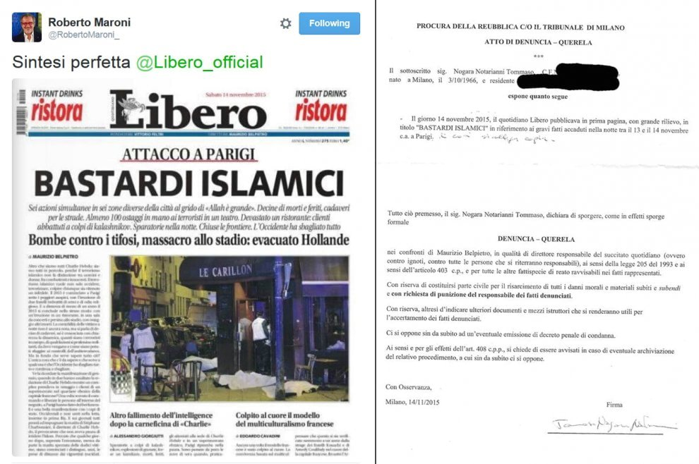 Milano, 'Libero' querelato per il titolo sulla strage di Parigi