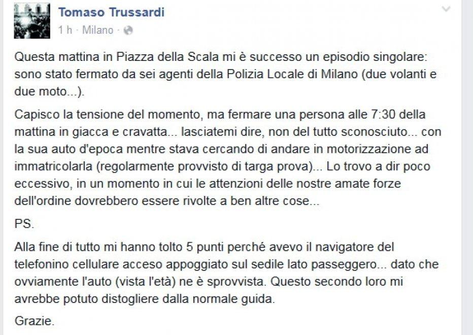 Allarme terrorismo, lo sfogo di Tomaso Trussardi su Fb: