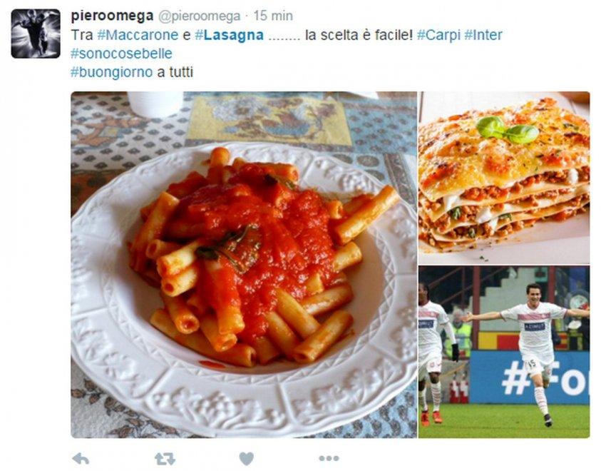 Milan e Inter punite da Maccarone e Lasagna, l'ironia pre-derby gioca con i carboidrati
