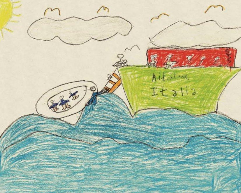 I barconi, la guerra e l'Italia che li salva in mare: in mostra a Milano i disegni dei piccoli profughi siriani