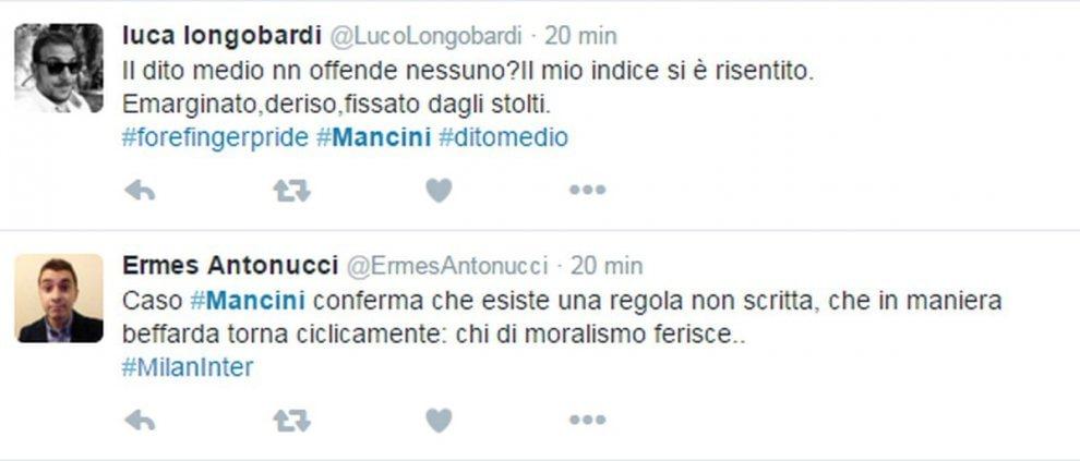 """San Siro, Twitter non perdona il dito medio a Mancini: """"Lo scivolone del moralizzatore"""""""