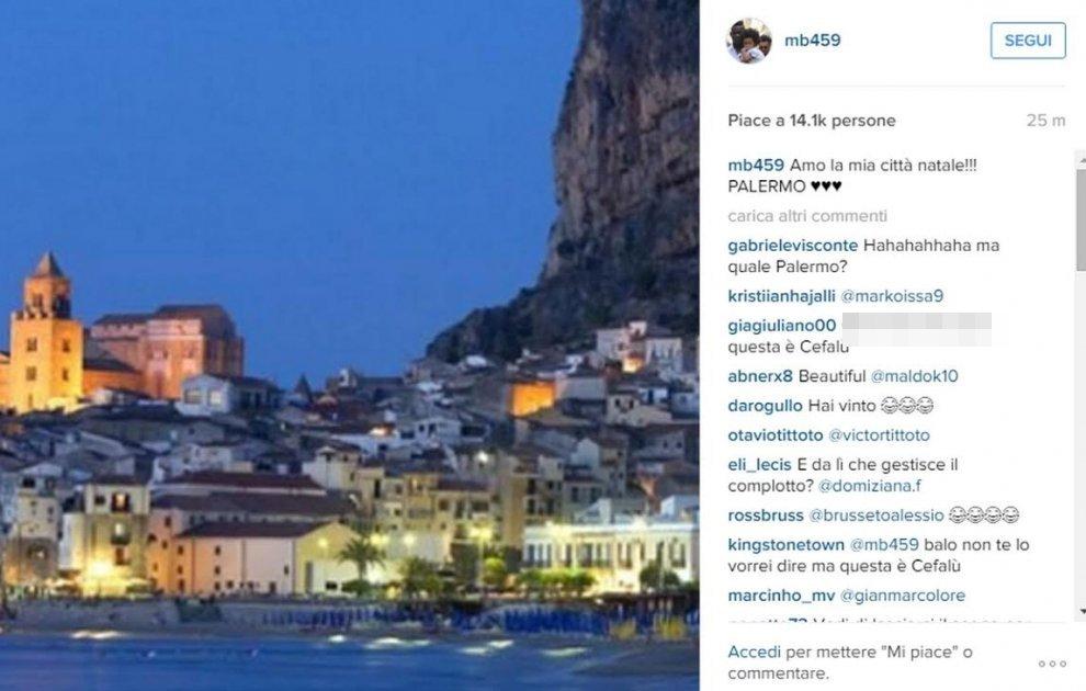Palermo-Milan, la gaffe di Balotelli su Instagram: la foto è di Cefalù