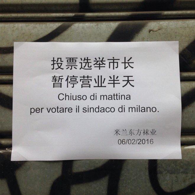 Primarie Milano, chiuso per voto: l'avviso in cinese