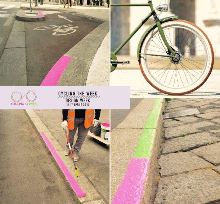 Milano: i marciapiedi fluo che guidano i ciclisti alla scoperta del Fuorisalone