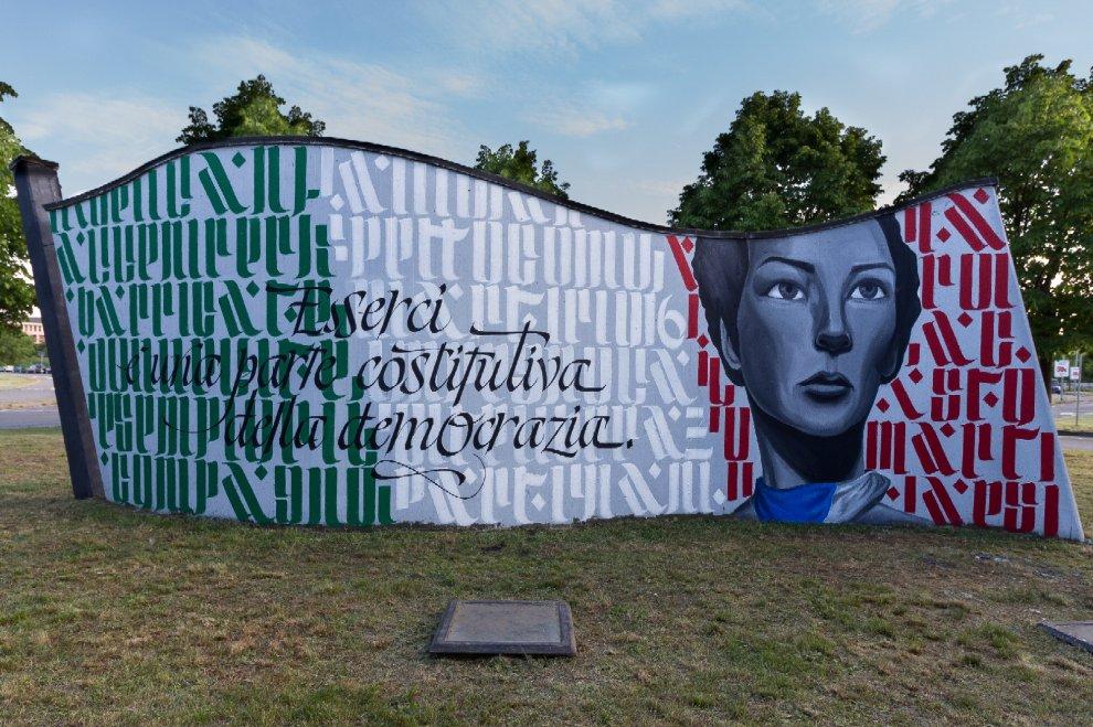 Rozzano, la street art per il 25 Aprile: Ivan Tresoldi fa rinascere il monumento ai partigiani