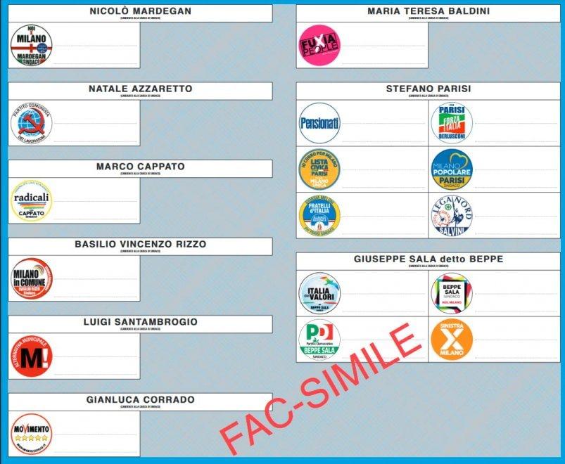 Elezioni Milano, ecco la scheda elettorale