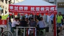 Terremoto, gazebo solidale della comunità cinese di Paolo Sarpi