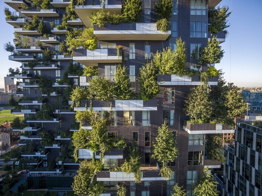 Milano bosco verticale icon design