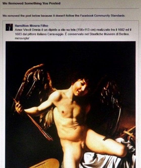 """Facebook boccia il Cupido di Caravaggio: parte la censura. """"Un affronto alla cultura"""""""