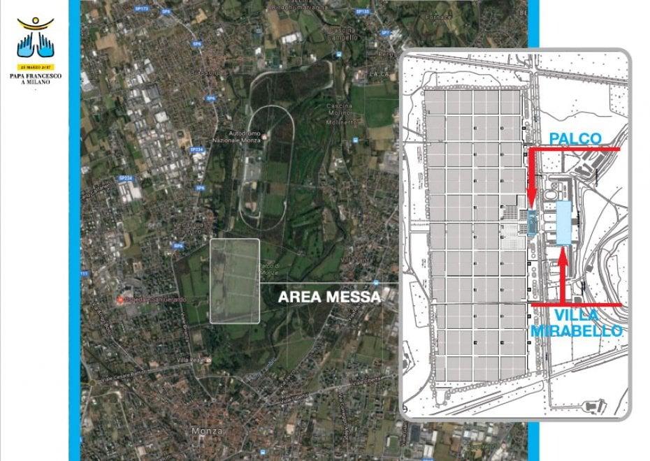 Papa Francesco a Milano, messa di popolo al Parco di Monza: la mappa