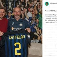 Alessandro Cattelan in visita all'Inter scherza su Instagram: