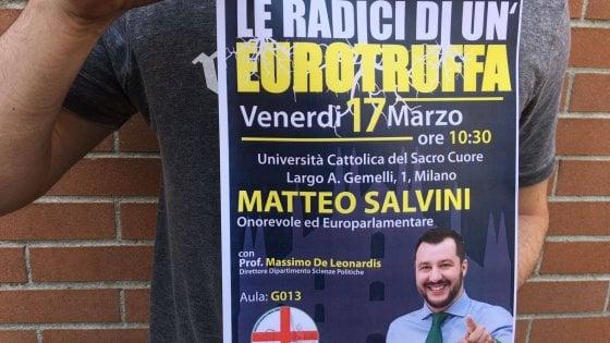 """Milano, Salvini alla Cattolica attacca: """"Dopo de Magistris, hanno provato a censurarmi"""""""