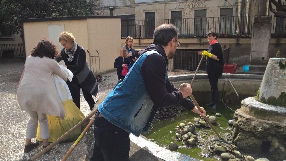 Milano, i genitori ripuliscono la fontana dei pesci rossi e delle tartarughe a scuola