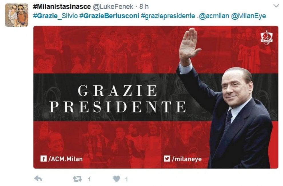 """Milan ai cinesi, il saluto dei tifosi sui social: """"Grazie presidente Berlusconi"""""""