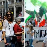 Migranti, fiori contro saluti romani: destra in corteo a Milano, a Sesto in piazza con le...