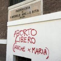 Aborto, scritta blasfema su una chiesa a Milano. Il parroco sgrida il writer su Facebook: