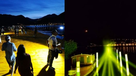 The Floating Piers, un anno dopo: sul lago d'Iseo gli 'ologrammi' delle passerelle, rivive il fenomeno Christo