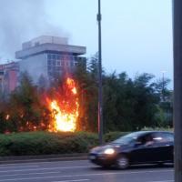 Milano, a fuoco le sterpaglie in piazzale Loreto: paura ma nessun ferito