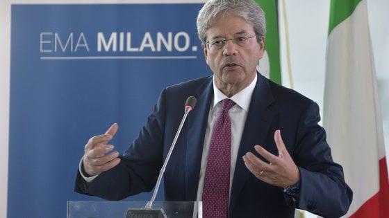 """Brexit, l'Ema a Milano: la candidatura ufficiale. Gentiloni: """"Grande occasione, giochiamo per vincere"""""""