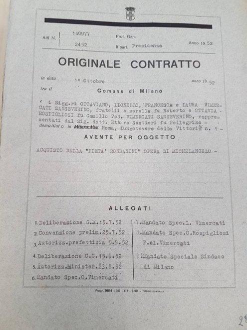 Milano, i contratti di vendita della Pietà Rondanini e delle opere di Boccioni: i documenti storici conservati negli archivi