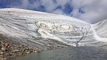 Sondrio, il ghiacciaio  si scioglie e spunta  l'immagine di due gufi